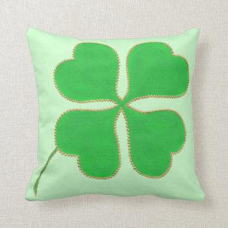 Green Shamrock trimmed in gold dots, pillow