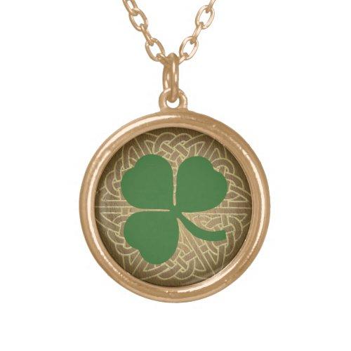 Green Shamrock w/Celtic Knot Pendant Necklace