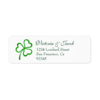 Green Shamrock Wedding Return Address Labels