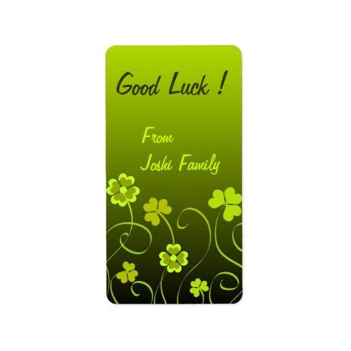 Green shamrocks and clovers address label