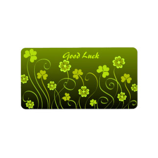 Green shamrocks and clovers label