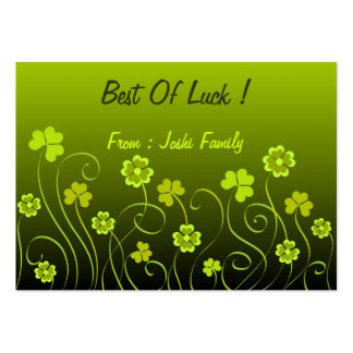 Green shamrocks and clovers large business cards (Pack of 100)