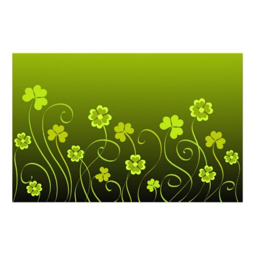 Green shamrocks and clovers stationery