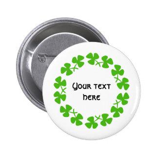 Green Shamrocks Border Add Text Button