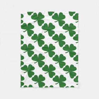 Green Shamrocks Clover Pattern St. Patrick's Day Fleece Blanket