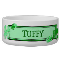 Green Shamrocks Dog Food Bowl With Name Template
