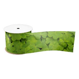 Green Shamrocks Floral Satin Ribbon