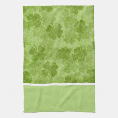 Green Shamrocks Irish Kitchen Towels