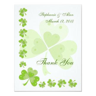 Green Shamrocks Irish Thank You Card