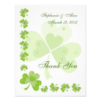 Green Shamrocks Irish Thank You Card Invite