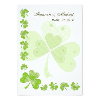Green Shamrocks Irish Wedding Invitations #1