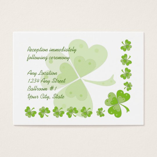 Green Shamrocks Irish Wedding Reception Cards #2