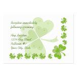 Green Shamrocks Irish Wedding Reception Cards #2 Business Card Templates