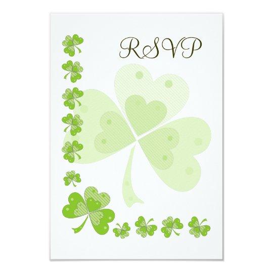 Green Shamrocks Irish Wedding RSVP Card #1