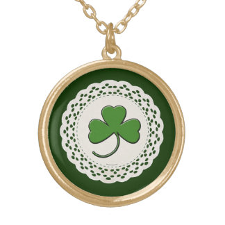 Green Shamrocks Lacy Doily Gold Plated Necklace