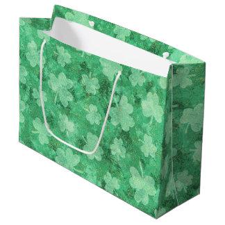 Green Shamrocks on Green Large Gift Bag