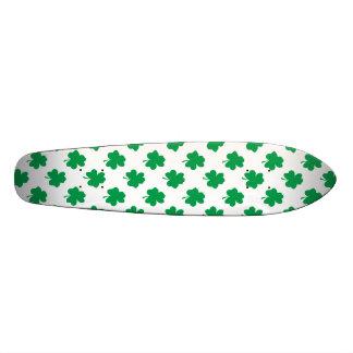 Green Shamrocks on White St.Patrick's Day Clover Skateboard