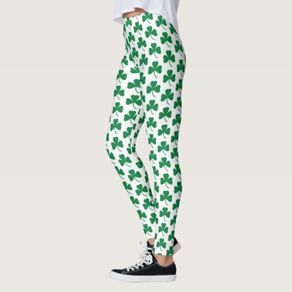 Green Shamrocks on White, St. Patrick's Day Leggings