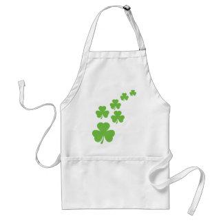 green shamrocks rain adult apron