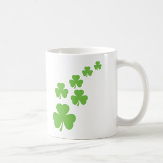 green shamrocks rain coffee mug