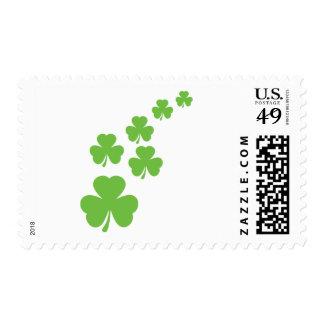 green shamrocks rain postage stamp