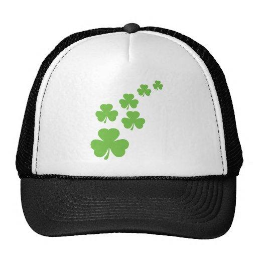 green shamrocks rain trucker hat