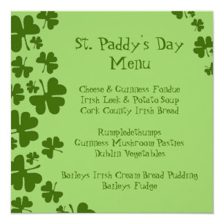 Green Shamrocks St. Paddy's Day Menu Card