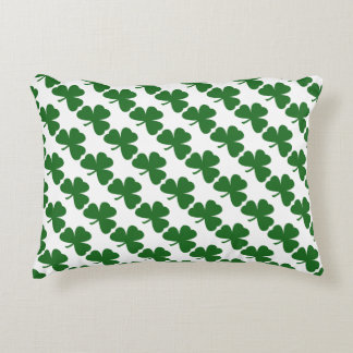 Green Shamrocks St. Patrick's Day Clover Pattern Accent Pillow