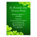 "Green Shamrocks St. Patrick's Day Invitation 5"" X 7"" Invitation Card"