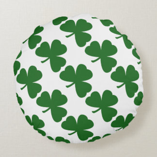 Green Shamrocks St. Patrick's Day Round Pillow