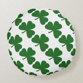 Green Shamrocks St. Patrick's Day Round Pillow