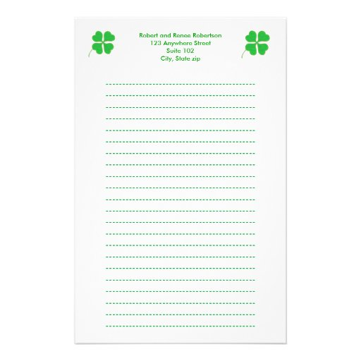 Green Shamrocks trimmed in gold, Lined stationery