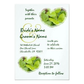 "GREEN SHAMROCKS - Wedding Invitation 5"" X 7"" Invitation Card"