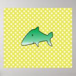 Green shark on yellow polka dots poster
