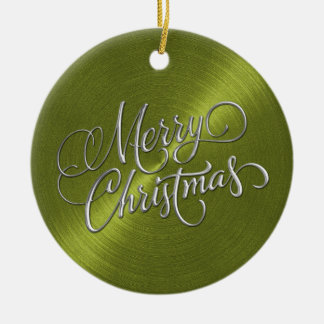 Green Sheen and Silver Merry Christmas Ceramic Ornament