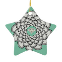 Green sheep mandala ceramic ornament