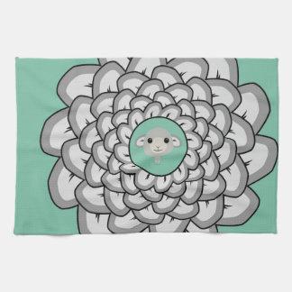Green sheep mandala hand towel