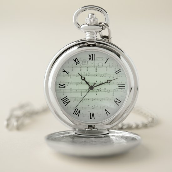 Green Sheet Music Black Numerals Silver Pocket Watch