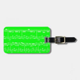 Green Sheet Music Luggage Tag