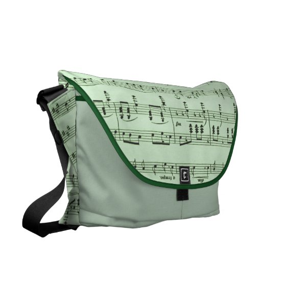 Green Sheet Music Messenger Bag
