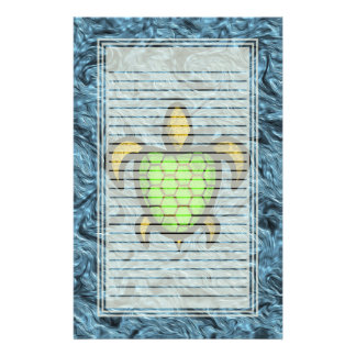 Green Shell Turtle Lined Stationery