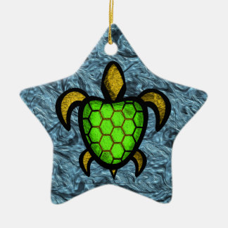 Green Shell Turtle Star Ornament