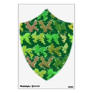 Green Shield : Military Camouflage Wave Pattern Wall Sticker