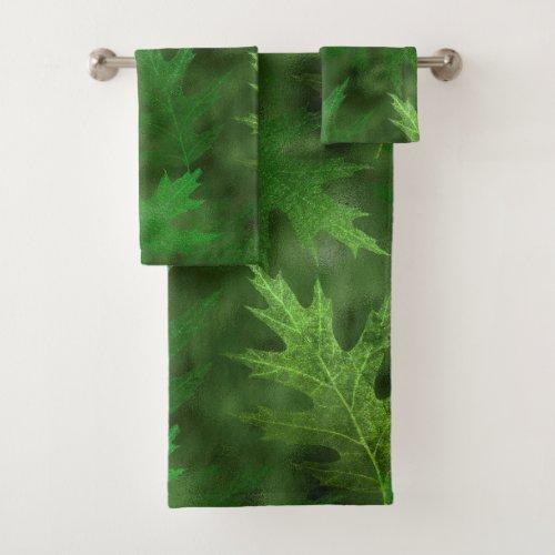 Green Shimmer Pretty Leaf Leaves Autumn Bath Towel Set
