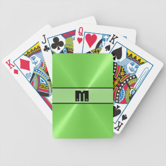 Green Shiny Stainless Steel Metal 4 Bicycle Playing Cards