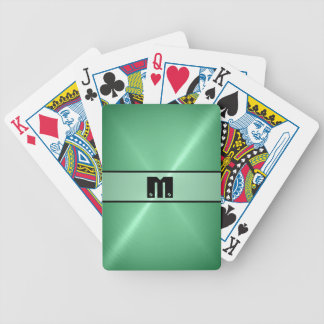 Green Shiny Stainless Steel Metal Bicycle Playing Cards