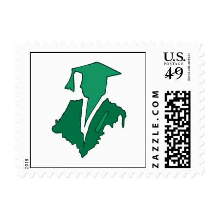 Green Sihlouette Postage Stamp