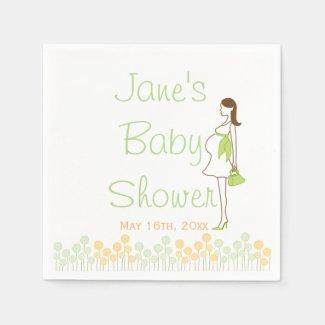 Green Silhouette Baby Shower Napkins Standard Cocktail Napkin