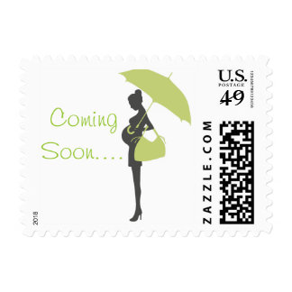 Green Silhouette Baby Shower Stamps Postage Stamps