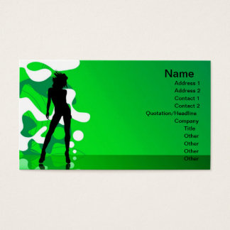 Green silhouette, Name, Address 1, Address 2, C... Business Card